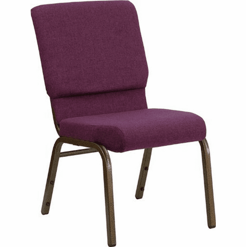 Flash Furniture HERCULES Series 18.5'' Wide Plum Fabric Stacking Church Chair with 4.25'' Thick Seat - Gold Vein Frame Model FD-CH02185-GV-005-GG