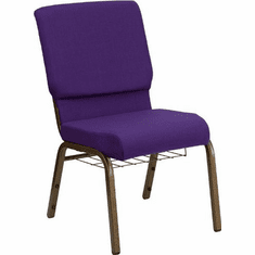 Flash Furniture HERCULES Series 18.5'' Wide Royal Purple Fabric Church Chair with 4.25'' Thick Seat, Communion Cup Book Rack - Gold Vein Frame Model FD-CH02185-GV-ROY-BAS-GG