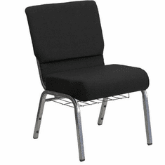 Flash Furniture HERCULES Series 21'' Extra Wide Black Church Chair with 3.75'' Thick Seat, Book Rack - Silver Vein Frame Model XU-CH0221-BK-SV-BAS-GG