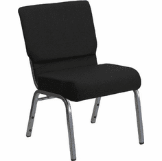 Flash Furniture HERCULES Series 21'' Extra Wide Black Stacking Church Chair with 3.75'' Thick Seat - Silver Vein Frame Model XU-CH0221-BK-SV-GG