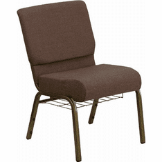 Flash Furniture HERCULES Series 21'' Extra Wide Brown Fabric Church Chair with 4'' Thick Seat, Communion Cup Book Rack - Gold Vein Frame Model FD-CH0221-4-GV-S0819-BAS-GG
