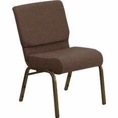 Flash Furniture HERCULES Series 21'' Extra Wide Brown Fabric Stacking Church Chair with 4'' Thick Seat - Gold Vein Frame Model FD-CH0221-4-GV-S0819-GG