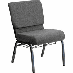 Flash Furniture HERCULES Series 21'' Extra Wide Gray Church Chair with 3.75'' Thick Seat, Book Rack - Silver Vein Frame Model XU-CH0221-GY-SV-BAS-GG