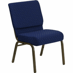 Flash Furniture HERCULES Series 21'' Extra Wide Navy Blue Dot Patterned Fabric Stacking Church Chair with 4'' Thick Seat - Gold Vein Frame Model FD-CH0221-4-GV-S0810-GG