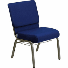 Flash Furniture HERCULES Series 21'' Extra Wide Navy Blue Fabric Church Chair with 4'' Thick Seat, Communion Cup Book Rack - Silver Vein Frame Model FD-CH0221-4-SV-NB24-BAS-GG