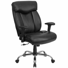 Flash Furniture HERCULES Series 350 lb. Capacity Big & Tall Black Leather Office Chair Model GO-1235-BK-LEA-GG