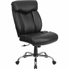 Flash Furniture HERCULES Series 350 lb. Capacity Big & Tall Black Leather Office Chair with Arms Model GO-1235-BK-LEA-A-GG