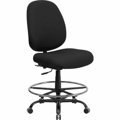 Flash Furniture HERCULES Series 400 lb. Capacity Big and Tall Black Fabric Drafting Stool with Extra WIDE Seat Model WL-715MG-BK-D-GG