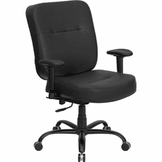 Flash Furniture HERCULES Series 400 lb. Capacity Big and Tall Black Leather Office Chair with Arms and Extra WIDE Seat Model WL-735SYG-BK-LEA-A-GG
