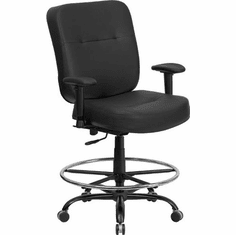 Flash Furniture HERCULES Series 400 lb. Capacity Big & Tall Black Leather Drafting Stool with Arms and Extra WIDE Seat Model WL-735SYG-BK-LEA-AD-GG