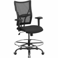 Flash Furniture HERCULES Series 400 lb. Capacity Big & Tall Black Mesh Office Chair with Arms Model WL-5029SYG-A-GG