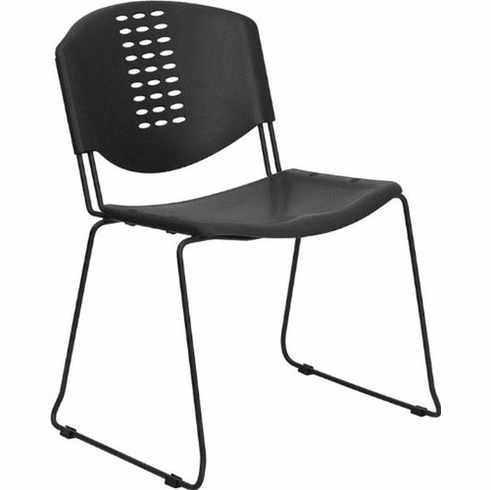 Flash Furniture HERCULES Series 440 lb. Capacity Black Ergonomic Shell Stack Chair with Black Frame and 12'' Seat Height Model RUT-NF02-BK-GG