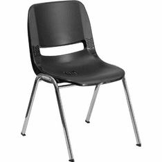 Flash Furniture HERCULES Series 880 lb. Capacity Black Ergonomic Shell Stack Chair with Padded Seat and Back Model RUT-18-BK-CHR-GG