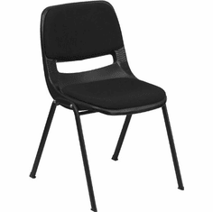 Flash Furniture HERCULES Series 880 lb. Capacity Black Full Back Contoured Stack Chair with Sled Base Model RUT-EO1-01-PAD-GG