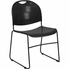 Flash Furniture HERCULES Series 880 lb. Capacity Black High Density, Ultra Compact Stack Chair with Chrome Frame Model RUT-188-BK-GG