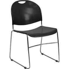 Flash Furniture HERCULES Series 880 lb. Capacity Black Plastic Stack Chair with Black Powder Coated Frame Model RUT-188-BK-CHR-GG