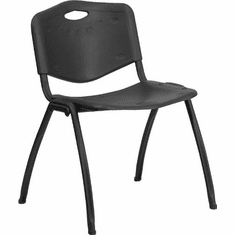 Flash Furniture HERCULES Series 880 lb. Capacity Black Polypropylene Stack Chair with Black Frame Finish Model RUT-D01-BK-GG