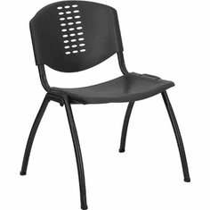Flash Furniture HERCULES Series 880 lb. Capacity Black Polypropylene Stack Chair with Titanium Frame Finish Model RUT-NF01A-BK-GG