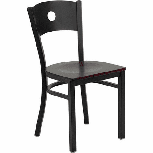 Flash Furniture HERCULES Series Black Circle Back Metal Restaurant Bar Stool - Burgundy Vinyl Seat Model XU-DG-60120-CIR-BAR-BLKV-GG