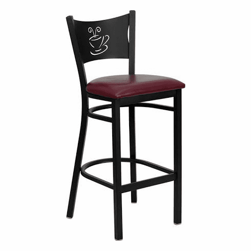 Flash Furniture HERCULES Series Black Coffee Back Metal Restaurant Bar Stool - Cherry Wood Seat Model XU-DG-60114-COF-BAR-BURV-GG