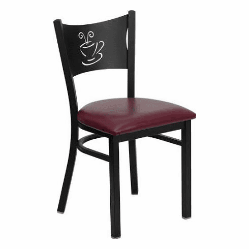 Flash Furniture HERCULES Series Black Coffee Back Metal Restaurant Chair - Cherry Wood Seat Model XU-DG-60099-COF-BURV-GG