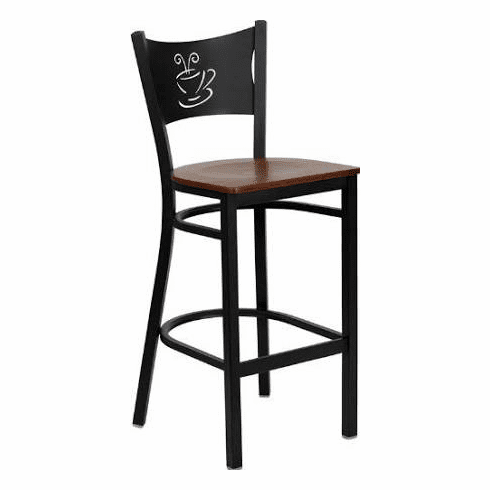 Flash Furniture HERCULES Series Black Grid Back Metal Restaurant Bar Stool - Black Vinyl Seat Model XU-DG-60114-COF-BAR-MAHW-GG