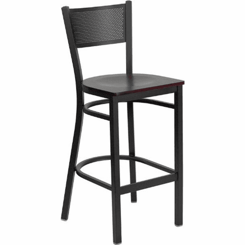 Flash Furniture HERCULES Series Black Grid Back Metal Restaurant Bar Stool - Burgundy Vinyl Seat Model XU-DG-60116-GRD-BAR-BLKV-GG