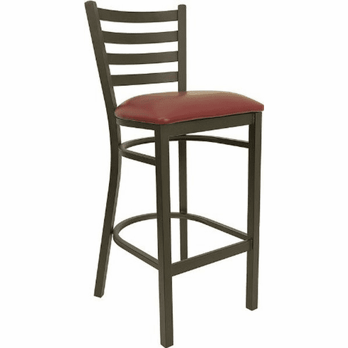 Flash Furniture HERCULES Series Black Ladder Back Metal Restaurant Bar Stool - Cherry Wood Seat, Model XU-DG697BLAD-BAR-BURV-GG