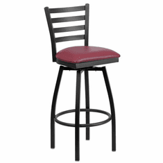Flash Furniture HERCULES Series Black Ladder Back Swivel Metal Bar Stool - Cherry Wood Seat Model XU-6F8B-LADSWVL-BURV-GG