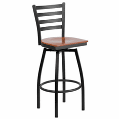 Flash Furniture HERCULES Series Black Ladder Back Swivel Metal Bar Stool - Mahogany Wood Seat Model XU-6F8B-LADSWVL-CHYW-GG