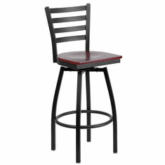 Flash Furniture HERCULES Series Black Ladder Back Swivel Metal Bar Stool - Natural Wood Seat Model XU-6F8B-LADSWVL-MAHW-GG