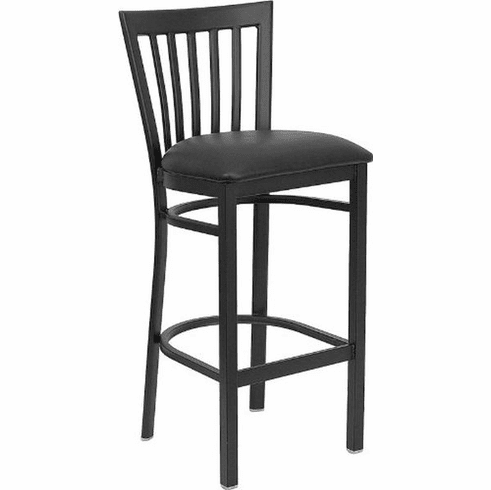 Flash Furniture HERCULES Series Black School House Back Metal Restaurant Bar Stool - Burgundy Vinyl Seat Model XU-DG6R8BSCH-BAR-BLKV-GG