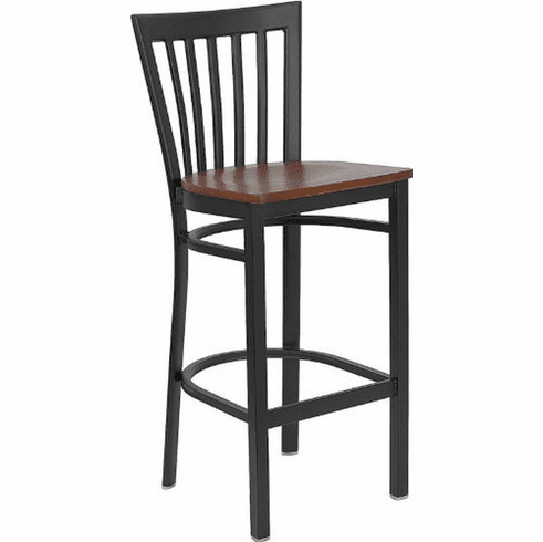 Flash Furniture HERCULES Series Black School House Back Metal Restaurant Bar Stool - Mahogany Wood Seat Model XU-DG6R8BSCH-BAR-CHYW-GG