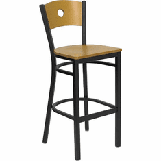 Flash Furniture HERCULES Series Black Slat Back Metal Restaurant Bar Stool - Natural Wood Back, Black Vinyl Seat Model XU-DG-6F6B-CIR-BAR-NATW-GG