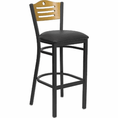 Flash Furniture HERCULES Series Black Slat Back Metal Restaurant Bar Stool - Natural Wood Back, Burgundy Vinyl Seat Model XU-DG-6H3B-SLAT-BAR-BLKV-GG