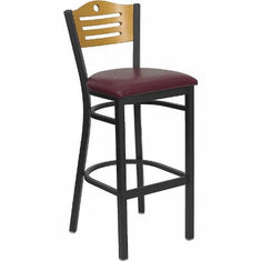 Flash Furniture HERCULES Series Black Slat Back Metal Restaurant Bar Stool - Natural Wood Back & Seat Model XU-DG-6H3B-SLAT-BAR-BURV-GG