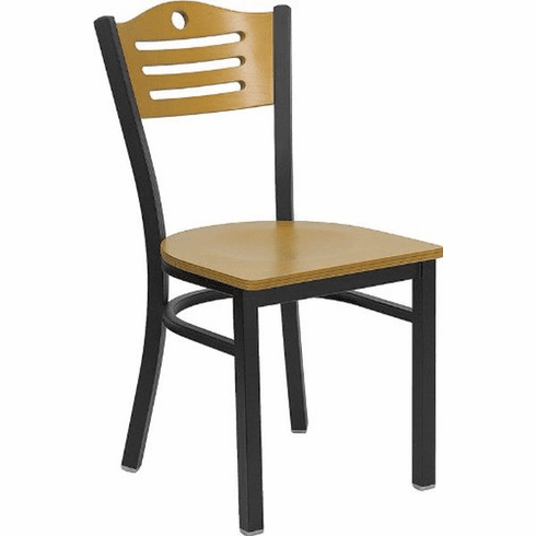 Flash Furniture HERCULES Series Black Slat Back Metal Restaurant Chair - Natural Wood Back, Black Vinyl Seat Model XU-DG-6G7B-SLAT-NATW-GG
