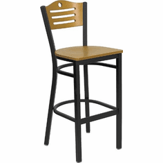 Flash Furniture HERCULES Series Black Vertical Back Metal Restaurant Bar Stool - Black Vinyl Seat Model XU-DG-6H3B-SLAT-BAR-NATW-GG