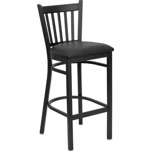 Flash Furniture HERCULES Series Black Vertical Back Metal Restaurant Bar Stool - Burgundy Vinyl Seat Model XU-DG-6R6B-VRT-BAR-BLKV-GG