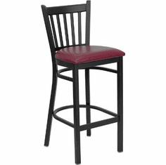 Flash Furniture HERCULES Series Black Vertical Back Metal Restaurant Bar Stool - Cherry Wood Seat Model XU-DG-6R6B-VRT-BAR-BURV-GG