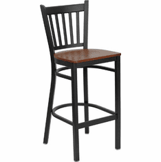 Flash Furniture HERCULES Series Black Vertical Back Metal Restaurant Bar Stool - Mahogany Wood Seat Model XU-DG-6R6B-VRT-BAR-CHYW-GG