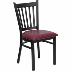 Flash Furniture HERCULES Series Black Vertical Back Metal Restaurant Chair - Cherry Wood Seat Model XU-DG-6Q2B-VRT-BURV-GG