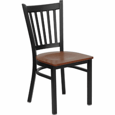 Flash Furniture HERCULES Series Black Vertical Back Metal Restaurant Chair - Mahogany Wood Seat Model XU-DG-6Q2B-VRT-CHYW-GG
