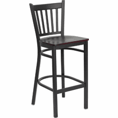 Flash Furniture HERCULES Series Black Window Back Metal Restaurant Bar Stool - Black Vinyl Seat Model XU-DG-6R6B-VRT-BAR-MAHW-GG