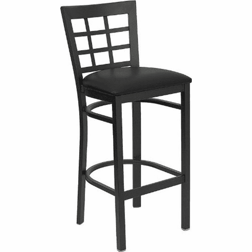 Flash Furniture HERCULES Series Black Window Back Metal Restaurant Bar Stool - Burgundy Vinyl Seat Model XU-DG6R7BWIN-BAR-BLKV-GG