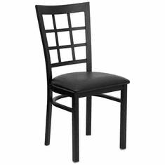 Flash Furniture HERCULES Series Black Window Back Metal Restaurant Chair - Burgundy Vinyl Seat Model XU-DG6Q3BWIN-BLKV-GG