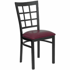 Flash Furniture HERCULES Series Black Window Back Metal Restaurant Chair - Cherry Wood Seat Model XU-DG6Q3BWIN-BURV-GG