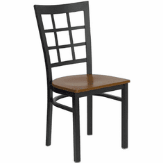 Flash Furniture HERCULES Series Black Window Back Metal Restaurant Chair - Mahogany Wood Seat Model XU-DG6Q3BWIN-CHYW-GG