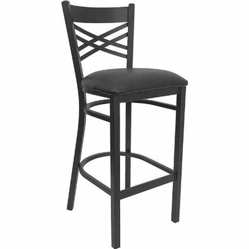 Flash Furniture HERCULES Series Black ''X'' Back Metal Restaurant Bar Stool - Burgundy Vinyl Seat Model XU-6F8BXBK-BAR-BLKV-GG