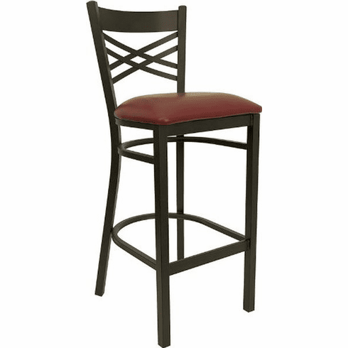 Flash Furniture HERCULES Series Black ''X'' Back Metal Restaurant Bar Stool - Cherry Wood Seat Model XU-6F8BXBK-BAR-BURV-GG